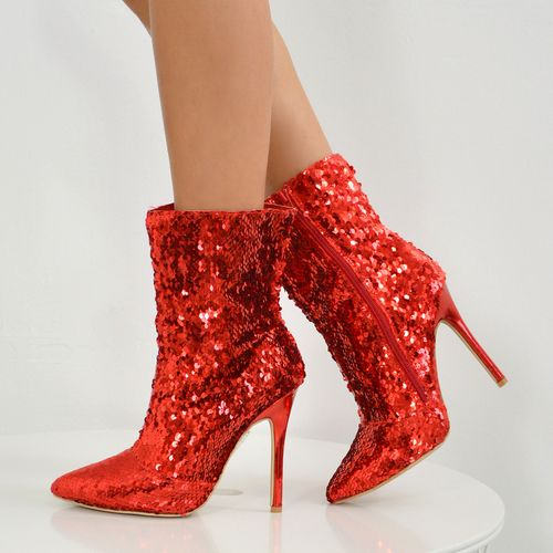Glitter Sparkle Stiletto Ankle Boots