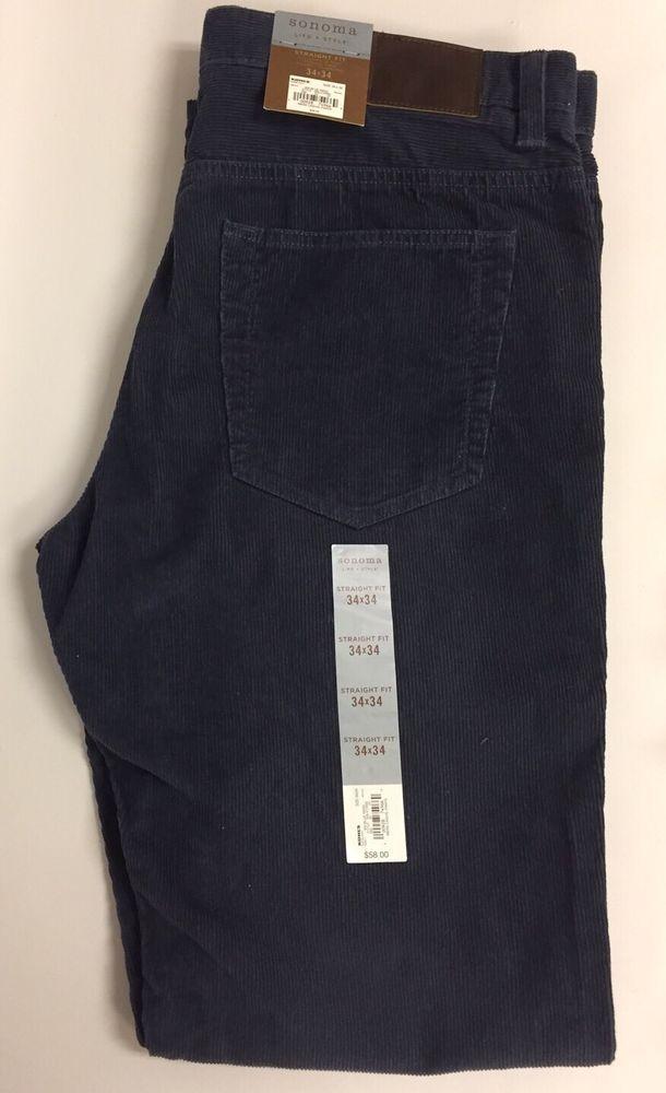 Mens Corduroy Pants Dark Blue Gray New Sz 34x34    eBay