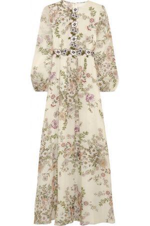 Robes imprimées - Robe Longue Du Soir En Georgette De Soie à Imprimé Fleuri Et à Appliqués