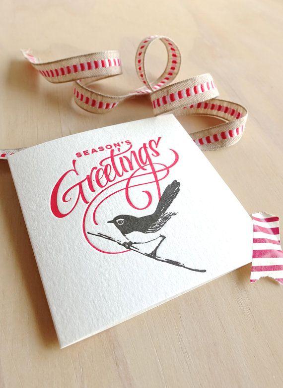 Letterpress Christmas card Australian willie wagtail wren bird Season's Greetings holdiday card made in Australia