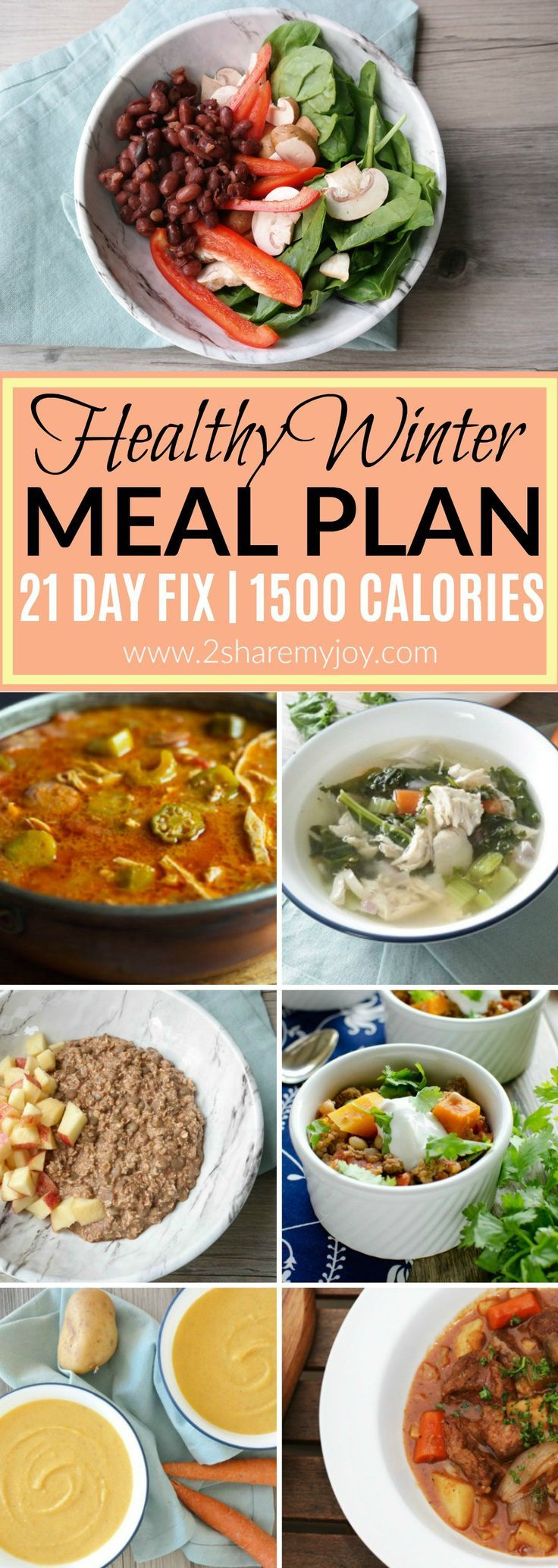 A healthy 1500 Calorie Winter Meal Plan that will help you to lose weight fast. This 21 day fix meal plan (plan B) is without shakeology and a great meal plan for beginners. It is frugal, Aldi friendly and you can change it into a vegetarian 21 day fix meal plan.