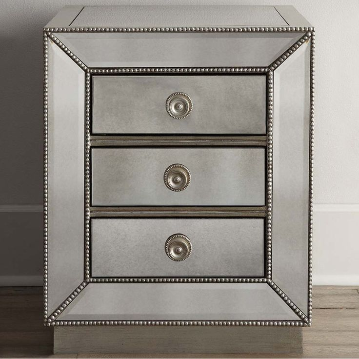 Baxton Studio Currin Contemporary Mirrored 3-drawer Nightstand