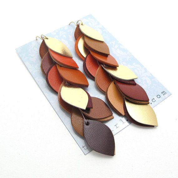 Boucles d'oreilles cuir Orange terreux
