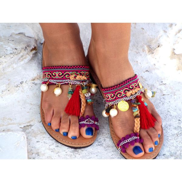 """Women's Shoes, Colorful Sandals, Greek Sandals, """"Morocco"""" Summer... ($138) ❤ liked on Polyvore featuring shoes, sandals, summer shoes, leather shoes, fringe sandals, beaded gladiator sandals and multi colored sandals"""