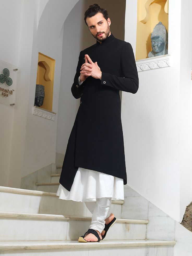 Shop Black and white two piece sherwani online from G3fashion India. Brand - G3, Product code - G3-MSH0151, Price - 18095, Color - Black, White, Fabric - Silk,