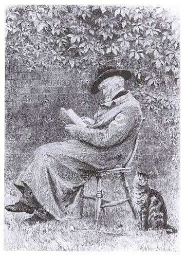 Charles Oliver Murray (1842-1924, British illustrator and etcher) - Thomas Carlyle in his Chelsea garden (after the painting by Helen Allingham) - Etching, c. 1881
