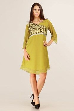 Kurtis,Admyrin,Mehendi  Embroidered Full Sleeve Georgette Kurti