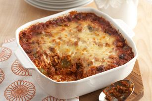 Undone Stuffed Pepper Casserole recipe...this was yummy and definitely something we will make again, we had spaghetti meat sauce left over and because I put parmesan cheese in my stuffed peppers, I put it in this too; also salt seemed to make the flavors pop more