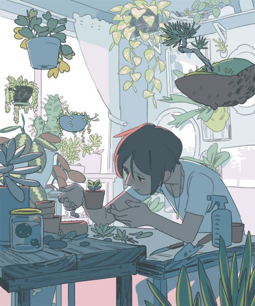 """viivus:  """" I'm getting more ambitious with my plant witch gifs!  """""""