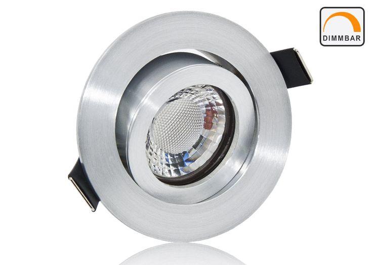 LED Einbaustrahler Set extra flach mit Marken Flat LED Spot LcLight 5 Watt Keramik Alu Feinschliff Rund Dimmbar 40 Watt Ersatz