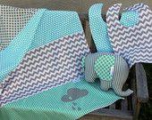 Baby nursery decor set. Blue and grey,aqua baby blanket.Baby boy bibs,elephant softie.Blue and grey chevron.cloud blanket.baby boy nursery