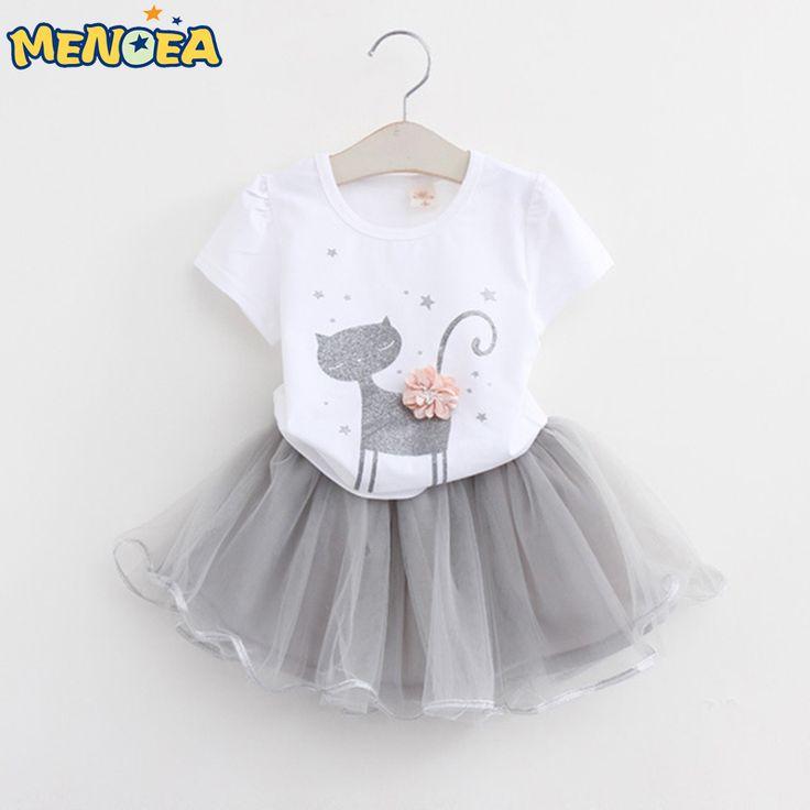 Menoea Girls Dress New Clothes 100% Summer Fashion Style Cartoon Cute Little White Cartoon Dress Kitten Printed Dress