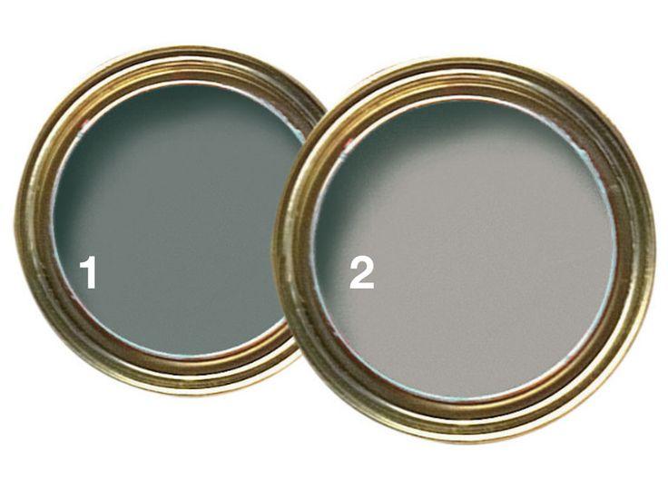 As tintas de tom Cinza Alpino*, da Coral (1), e Concreto*, da Suvinil (2), reproduzem a cor do material. Na Tintas MC, por 55,80 e 51,30 reais, respectivamente (3,6 litros).