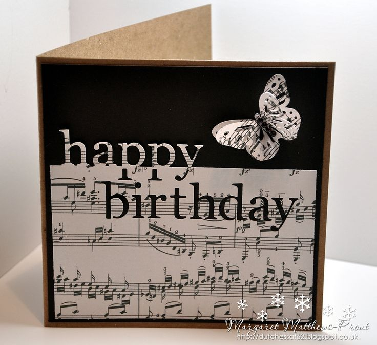 374 best cards musical images on pinterest music cards and making birthday cards using a memory box die for a man leave off the butterfly and find something else like a music symbol to replace it bookmarktalkfo Images