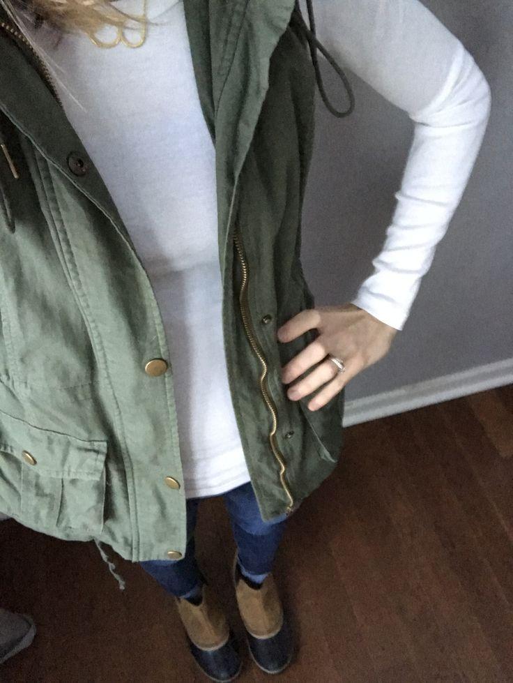 "Currently wearing: Olive vest, JCrew knit basic, Anthropologie ""B"" necklace, H&M super skinnies, Sorel Duck boots."