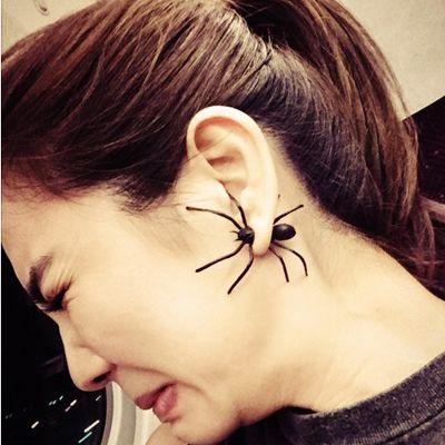 1 Paar Kernsplijting Simulatie Zwarte Spider Stud Oorbellen Voor Vrouwen Sieraden Piercing Oorbellen 3212