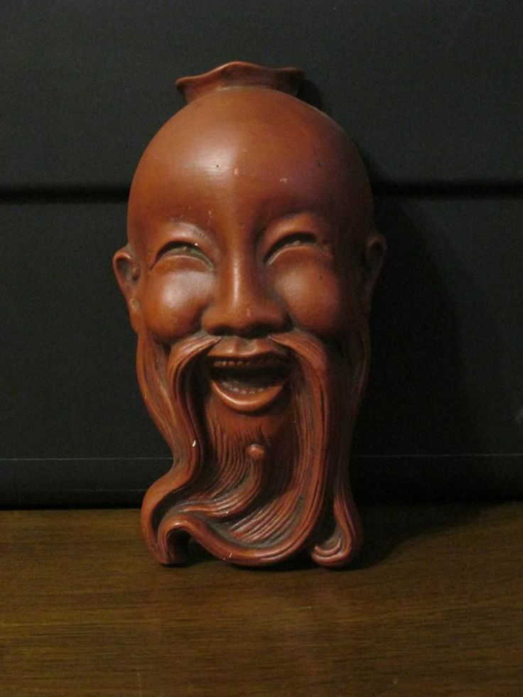 Laughing Chinese Man Face Mask Wall Hanging Chinese Wood
