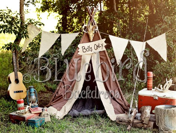 Little Outdoorsman camping-theme double-sided photography backdrop.  Great one for little boys' mini sessions!  #bluebirdbackdrops