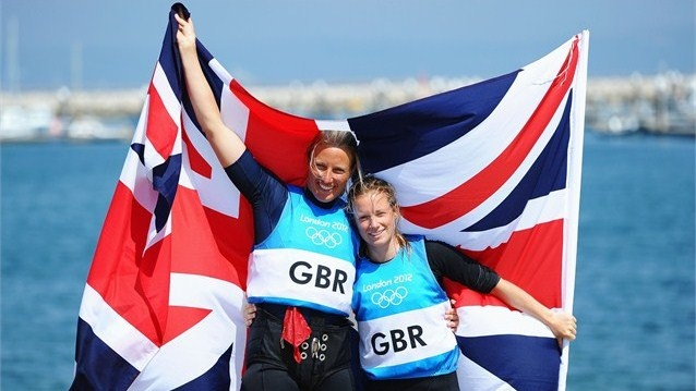 Hannah Mills and Saskia Clark of Great Britain celebrate silver in 470 class London 2012 Olympics