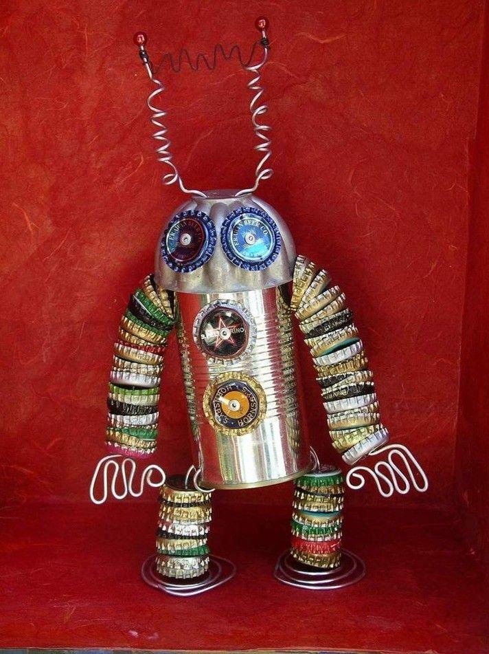 Robot de tapones y latas - Bottle Cap and Tin Can Robot