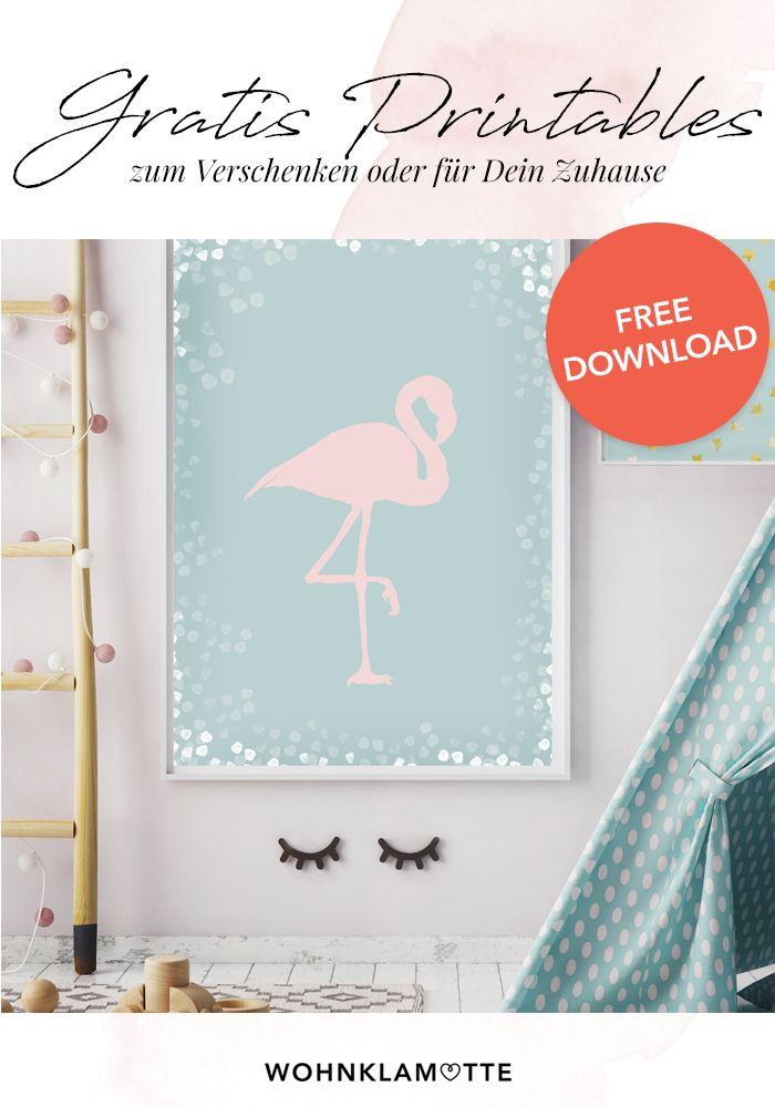Gratis Printables zum herunterladen! Hier findest Du die perfekten Bilder zum verschenken oder einfach als neue Dekoration in deinem Zuhause. Bis zu DIN A 3 können die Printables ausgedruckt werden. Werde ein WOHNKLAMOTTE Friend und bekomme alles for free. Unser Lieblingsmotiv ist definitiv der Flamingo und die Sterne!