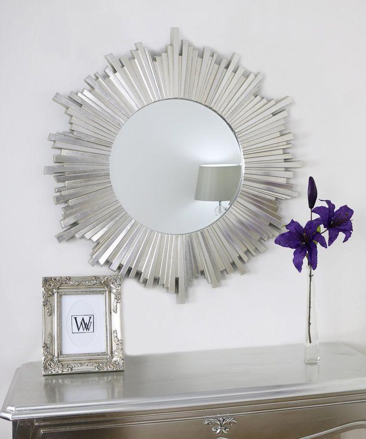 "Sunburst Silver Round Art Deco Mirror Hamilton 40"" x 40"""