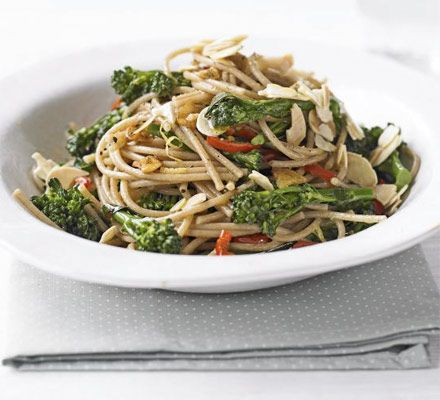 Brown spaghetti keeps you fuller for longer - team it with healthy greens flavoured with garlic, chilli and lemon