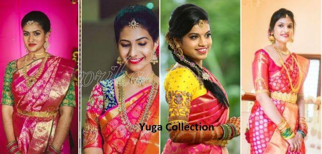 2541c85bd503ef Pink kanjeevaram Bridal sarees with contrast blouse combination ...