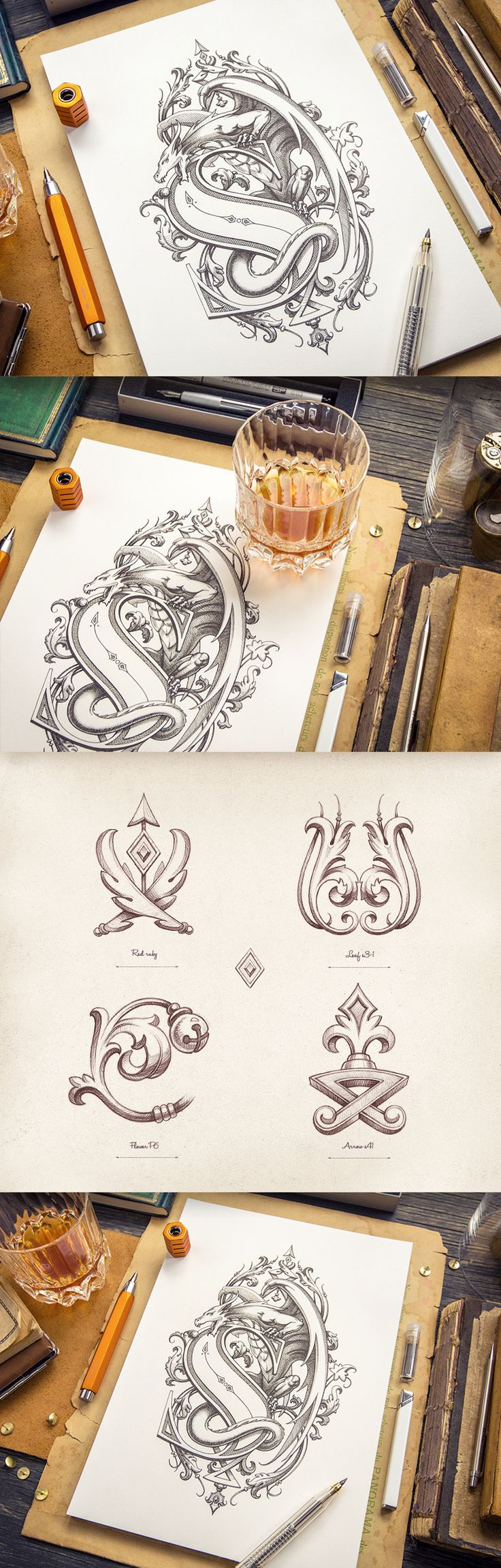 Gorgeous! Heraldry shows little designs that went into final product