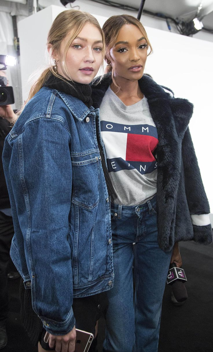 Gigi Hadid and Jourdan Dunn proving their supermodel credentials backstage at the Tommy Hilfiger show during AW16 New York Fashion week
