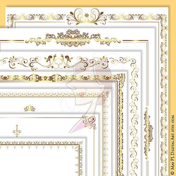 Page Borders Frames GOLD Wedding Digital Clip Art 8.5 x 11 Rectangle Ornate…