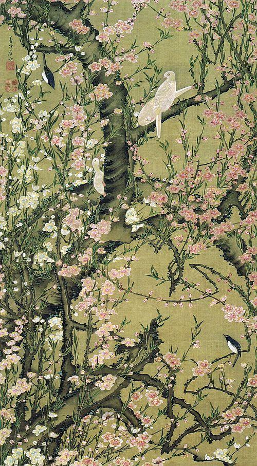 """動植綵絵 第二期( 1761-1765 ), 18. 桃花小禽図[とうか しょうきん ず] , """"Pictures of the Colorful Realm of Living Beings"""", Jakuchu Ito"""