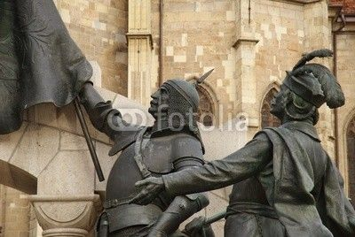 Bronze figures of the Statue of Matei Corvin, Cluj-Napoca. Matthias Corvinus (23 February 1443 – 6 April 1490), also called the Just in folk tales, was King of Hungary (as Matthias I) and Croatia from 1458, at the age of 14 until his death