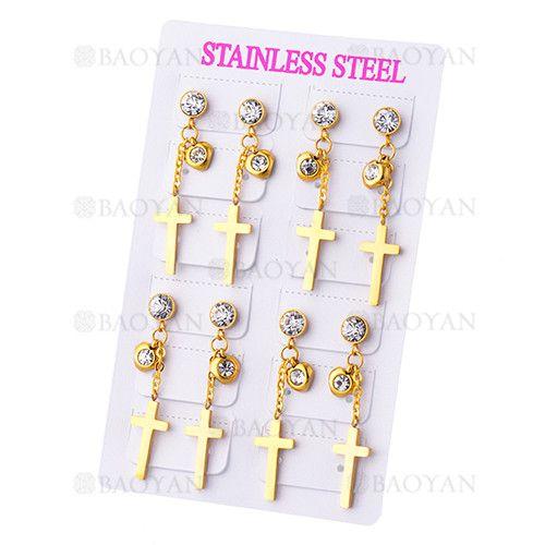 pendientes de santa cruz dorado con cristal brillo en acero dorado inoxidable -SSEGG1084792