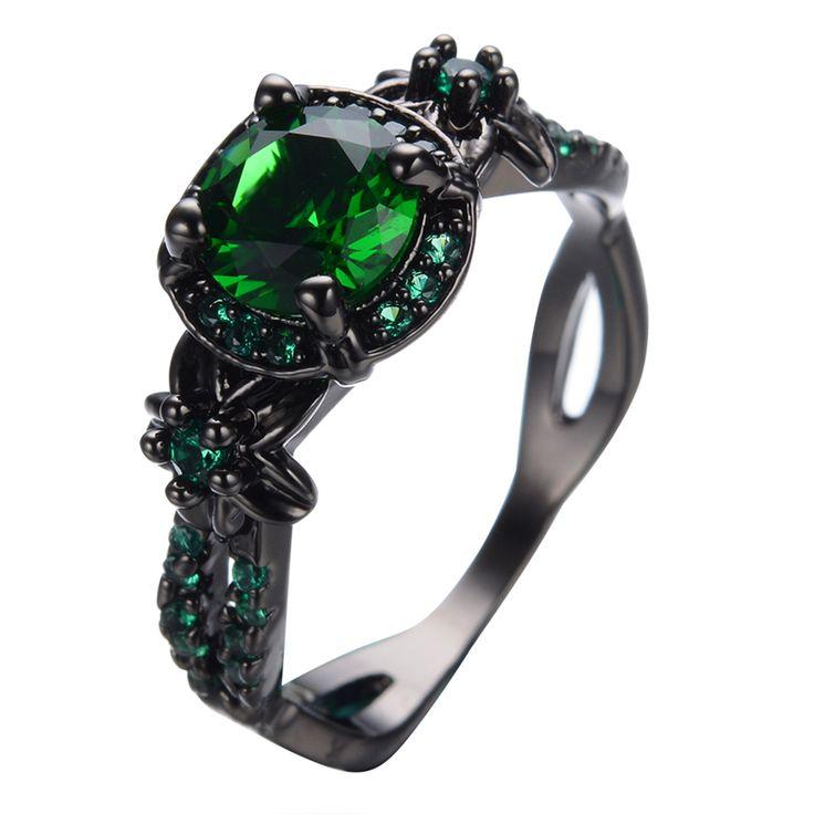 Vintage Flower Green Ring Green CZ Fashion Men Women Wedding Jewelry Black Gold Filled Engagement Rings Bijoux Femme RB0434
