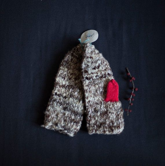 Knitted Mittens in grey and fluorescent pink / magenta  by mosgos, $45.00