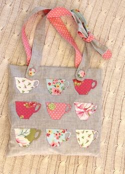 Applique Cups Shoulder Tote. These would be cute appliqued onto cloth napkins.