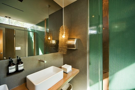Bathroom fitout showing green bubble wall