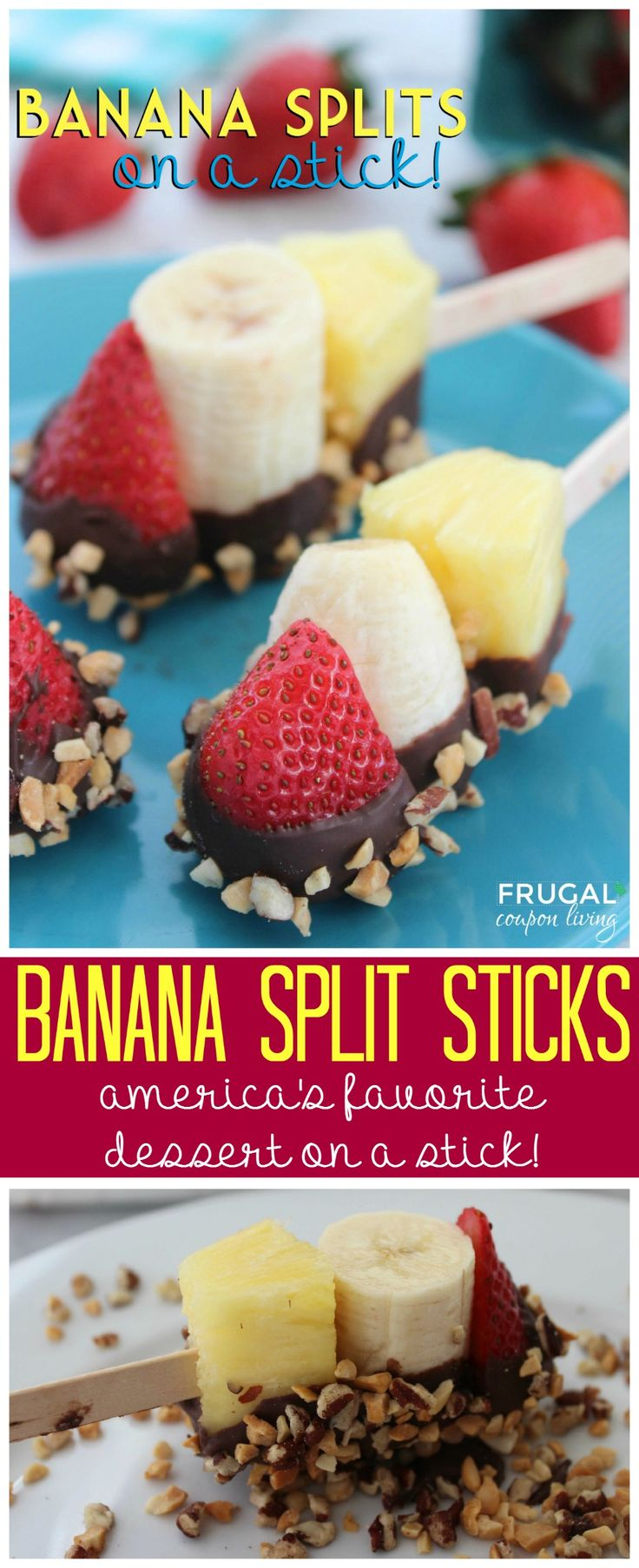 Banana Split Sticks – Dessert on a Stick! Great summertime snack idea, a fun alternative to messy ice cream. Details on Frugal Coupon Living.