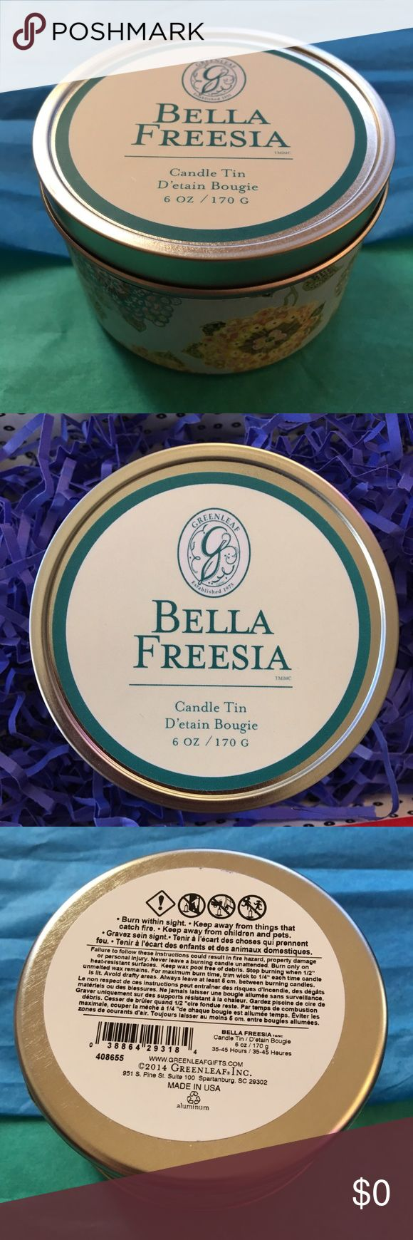 ✨🌺🌸 Bella Freesia Signature Candle Tin 🌸🌺✨ ✨🌺🌸 Bella Freesia Signature Candle Tin 🌸🌺✨ 6 oz. by Greenleaf. Natural soy blend wax that is specially formulated for maximum fragrance & a long clean burn. Lovely freesia & delicate white tea beautifully blended with amber & cotton blossom in elegant splendor. The delightful scent is reminiscent of a relaxing day at the spa. I gave a couple of these as part of a Mother's Day gift (along with other spa-themed treasures, such as gift cards…
