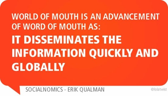 World of mouth is an advancement of word of mouth as: it disseminates the information quickly and globally