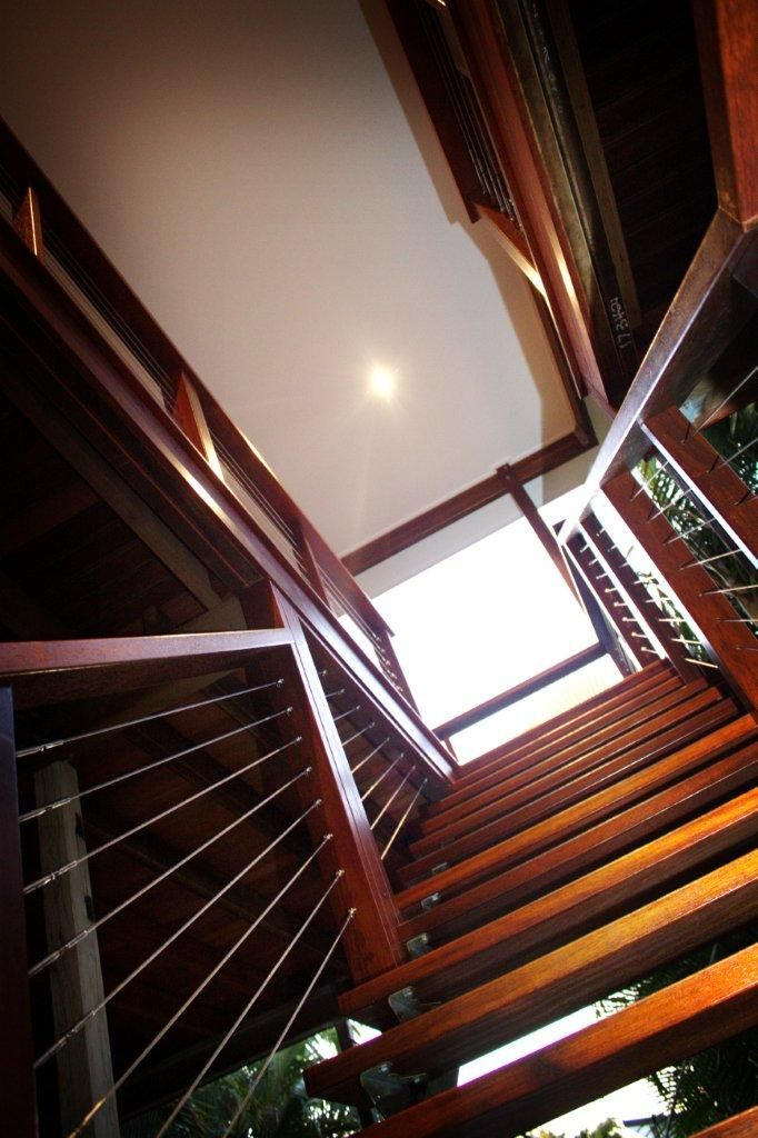 Timber stairs & balustrade.  These timber stairs feature matching timber balustrade with stainless steel cables.        www.empiredesigns.com.au