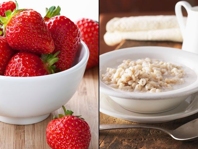 Oatmeal + Strawberries = A Healthier Heart | Stay-Well Strategy: Enjoy a half cup of sliced strawberries with your morning bowl of oatmeal. | From: ivillage.com