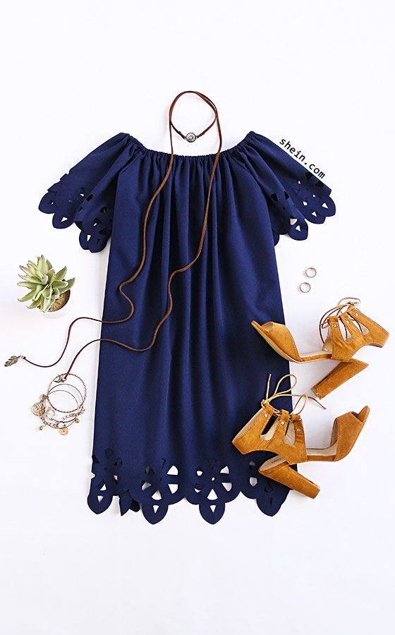 Navy Off The Shoulder Hollow Shift Dress