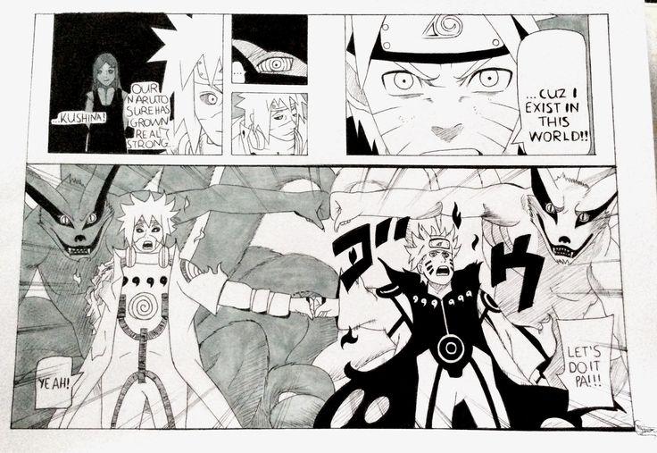 Naruto with Minato and the two halves of Kurama