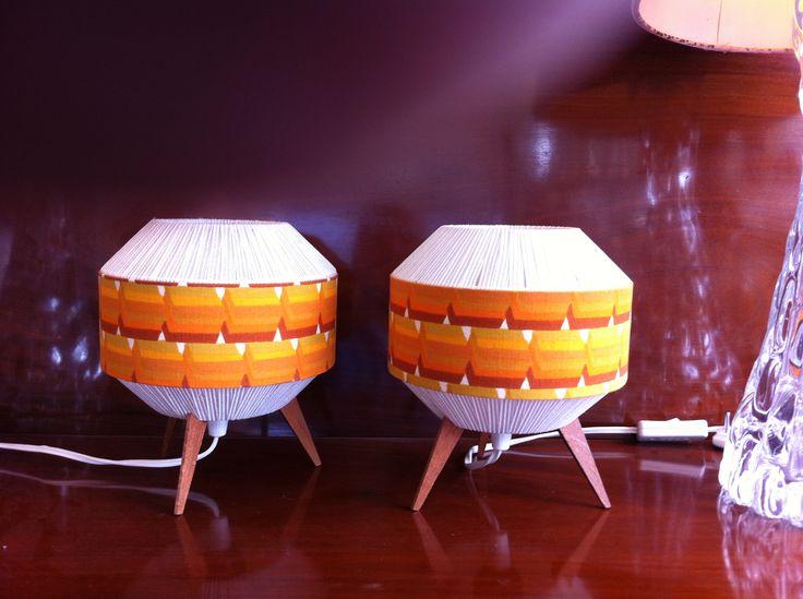 Pair 50s teak table lamps