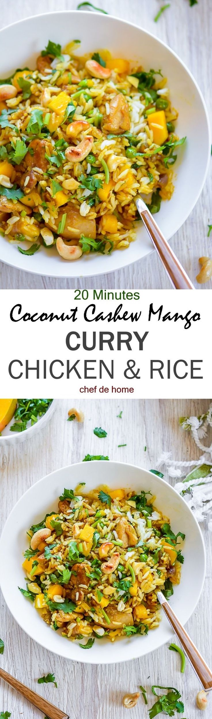 One Pot Coconut Cashew Mango Curry Chicken and Rice | chefdehome.com (Healthy Bake Salmon)