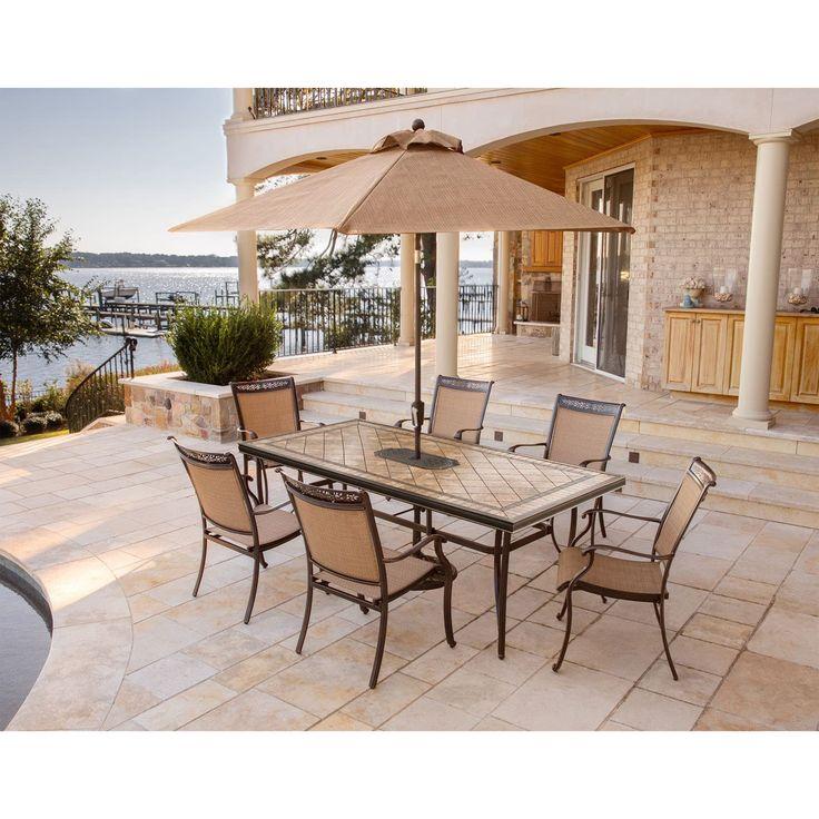 Best 25 tile top tables ideas on pinterest outdoor tile - Outdoor interiors 7 piece patio set ...