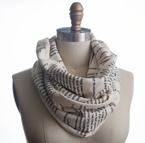 Hey, I found this really awesome Etsy listing at http://www.etsy.com/listing/88642480/pride-and-prejudice-book-scarf