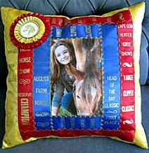 This is so awesome I could store all 4-H memories of ribbons and pictures into pillows and quilts. I have so many 4-H awards!!